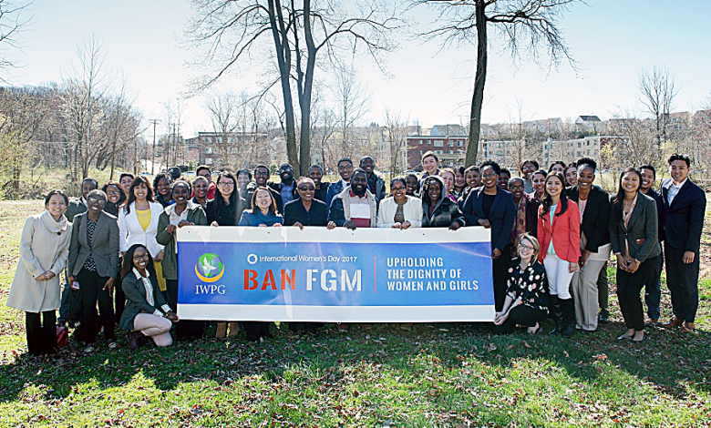 The International Women's Peace Group gather on International Women's Day on March 8 at Mother's Peace Garden in Southeast to plant flowers in honor of those affected by female genital mutilation. (IWPG)