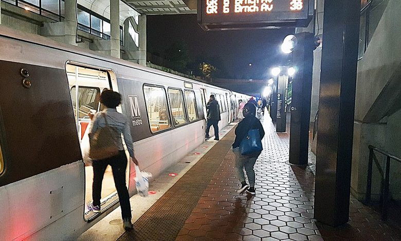 Passengers board a Green Line train at the Prince George's Plaza Metro station in Hyattsville in September. Metro recently released a safety report that shows injuries among riders and employees slightly increased last year. (William J. Ford/The Washington Informer)
