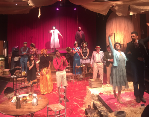 """The cast of """"The Very Last Days of the First Colored Circus"""" during a March 3 performance at Anacostia Playhouse (Jade James-Gist/The Washington Informer)"""
