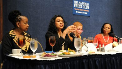 Lezli Baskerville, president and CEO of the National Association for Equal Opportunity in Higher Education speaks during a panel discussion at the 7th Annual Stateswomen for Justice Luncheon and Issues Forum held March 31, 2017 at the National Press Club in Northwest. (Photo by Lateef Mangum)