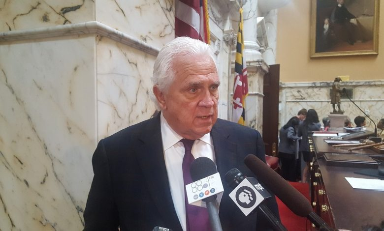 "Maryland Senate President Thomas V. ""Mike"" Miller speaks to reporters about Sen. Nathaniel Oaks and the ethics law legislation unanimously passed in the Senate on April 7. (William J. Ford/The Washington Informer)"