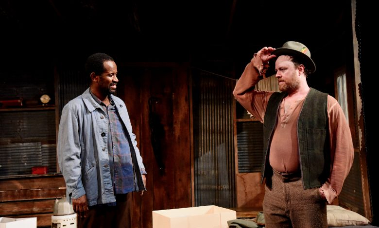 Tom Story (left) as Morris and Nathan Hinton as Zachariah in Blood Knot at Mosaic Theater Company of D.C. (Courtesy of Stan Barouh)