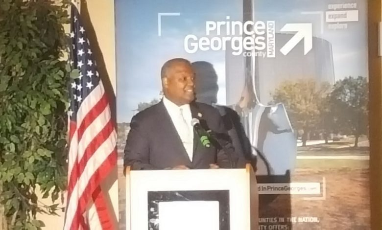 Prince George's County Executive Rushern L. Baker III gives his sixth State of the Economy address before hundreds of business leaders, state, county and municipal officials at the Colony South Hotel in Clinton on May 3. (William J. Ford/The Washington Informer)