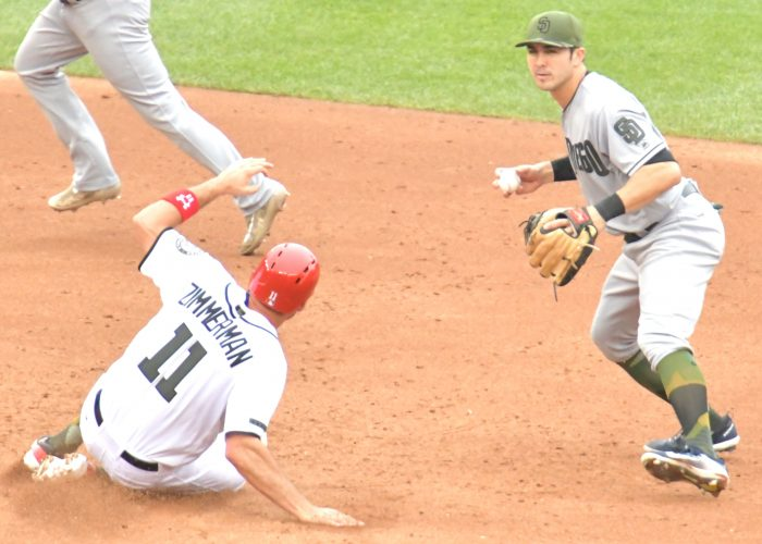 Padres second baseman Wilmer Difo throws to first base to complete a double play as Nationals first baseman Ryan Zimmerman slides into second base during Padres 5-3 win at Nationals Park in Southeast on Sunday, May 28./Photo by John E. De Freitas