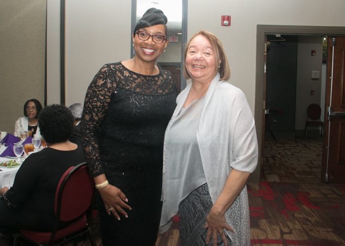 Gloria Caracciolo (left), class of '79 and Coach Sylvia Grooms are inducted into the 2017 Cardozo All-Met Hall of Fame during the 8th Annual Awards Dinner in Upper Marlboro, Md., April 30, 2017. /Photo by Shevry Lassiter