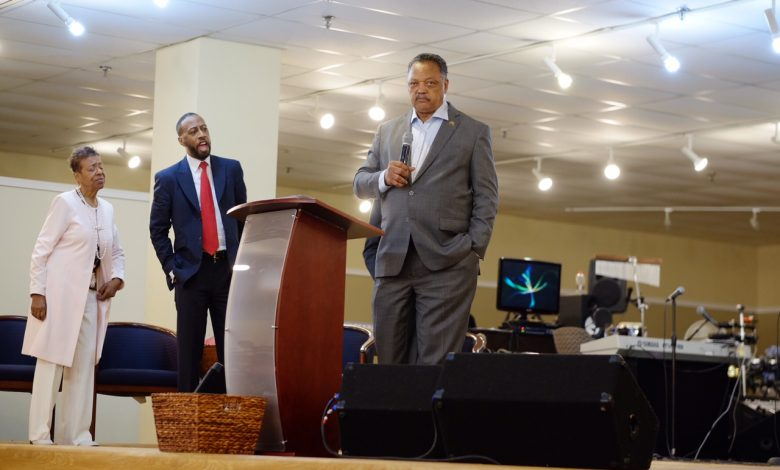 Rev. Jesse L. Jackson Sr. speaks during service at the Community of Hope AME Church in Temple Hills, Maryland, on May 28. (Courtesy of Bill Lee/Community of Hope AME Church)