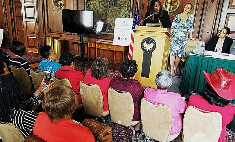 Derrica Wilson, founder of the Black and Missing Foundation, speaks during the Congressional Caucus on Black Women and Girls' discussion on missing women of color nationwide at the Library of Congress on April 26. (Courtesy photo)