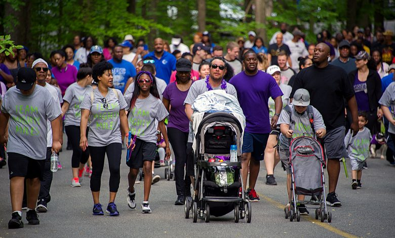 Walkers and runners participate in the annual Prince George's County March of Dimes at Watkins Regional Park in Upper Marlboro on April 29. (Lateef Mangum/The Washington Informer)