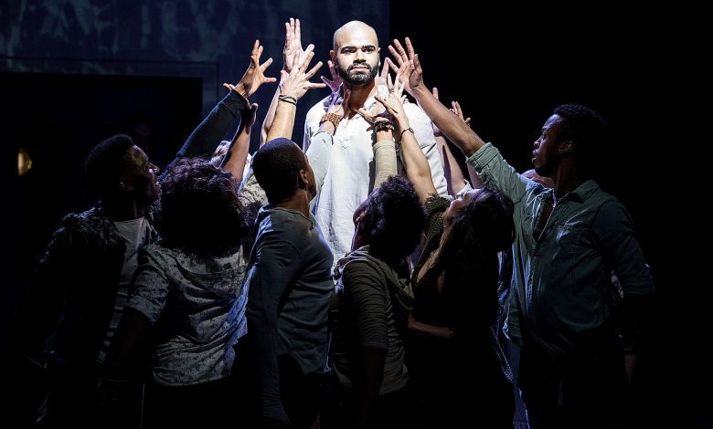 """Nicholas Edwards and the cast of """"Jesus Christ Superstar"""" at Signature Theatre (Courtesy of Margot Schulman)"""
