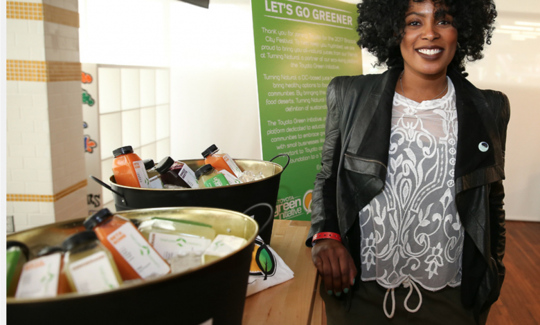 Jerri Evans, owner of Turning Natural Juice Bar in D.C. and Toyota Green Initiative Coalition member, attends the Broccoli City Music Festival on May 6. (Courtesy of Soul Brother via of Toyota)