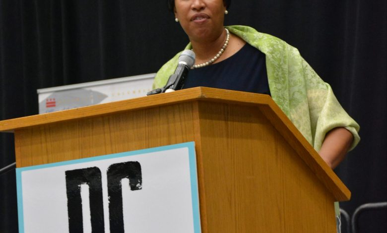 Mayor Muriel Bowser welcomes high school seniors to the 2017 DC College Day Signing and outlines a plan for college success on Friday, April 28, 2017 at George Washington University's Smith Hall in Northwest. /Photo by Roy Lewis