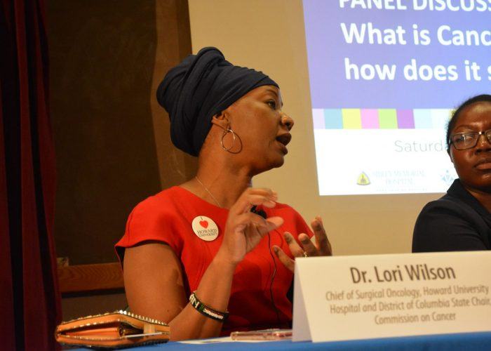 """Dr. Lori Wilson, chief surgical oncologist at Howard University, speaks during the Sibley Oncology Clinic at United Medical Center's """"Cancer Awareness Day"""" in southeast D.C. on May 20, 2017. (Roy Lewis/The Washington Informer)"""