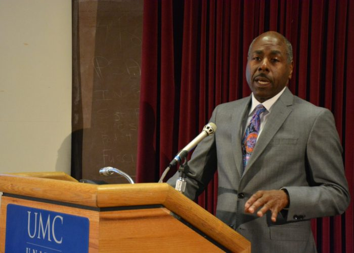 """Dr. Melvin Gaskins, oncologist and director at Sibley Oncologist Clinic at United Medical Center, speaks during a panel at the Sibley Oncology Clinic at United Medical Center's """"Cancer Awareness Day"""" in southeast D.C. on May 20, 2017. (Roy Lewis/The Washington Informer)"""