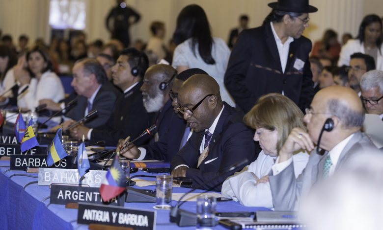 Minister of Foreign Affairs Darren Henfield (third from right) delivering a statement on behalf of CARICOM Member States during the Meeting of Consultation of Ministers of Foreign Affairs at the OAS on May 31, 2017.