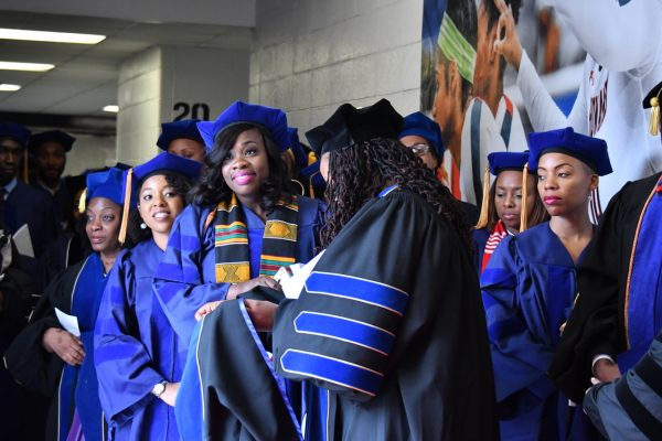 Members of Howard University's Class of 2017 await the start of the commencement ceremony on May 17. (Travis Riddick/The Washington Informer)