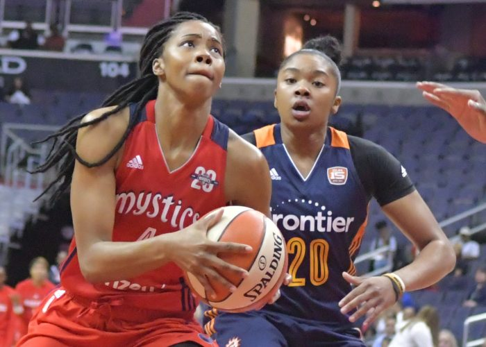 Mystics point guard Tayler Hill is defended by Sun point guard Alex Bentley during the Mystics 78-76 win at Verizon Center in Northwest on Wednesday, May 31./Photo by John E. De Freitas