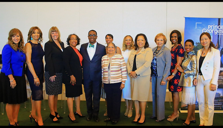 From left: Julie Lenzer, honoree; Dr. Debra Mahone, honoree; Sharon Lockwood, panelist; Muriel Garr, co-chair; Jim Coleman, president/CEO, PGCEDC; Monique Anderson Walker, co-chair; Sara Bahethi, honoree; Tammi Thomas, panelist; Marva Jo Camp, esq., vice chair, PGCEDC board; Sylvia Syphax, PGCEDC board; Shawn Wright, panelist; Dr. Gloria Mayfield Banks, keynote speaker; Lisa Liu, honoree (Courtesy of PGCEDC)