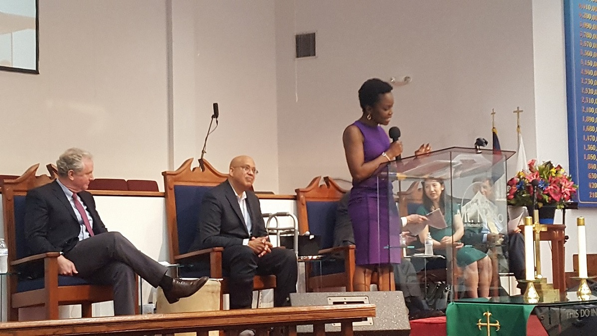 Karine Jean Pierre, a MSNBC contributor and spokeswoman for MoveOn.org, moderates a June 24 discussion on health care reform at Greater Mt. Nebo AME Church in Bowie, Maryland. (William J. Ford/The Washington Informer)