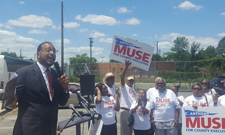 Maryland state Sen. C. Anthony Muse speaks to supporters in Suitland on June 26 during a multi-town run to announce his bid for Prince George's County Executive. (William J. Ford/The Washington Informer)