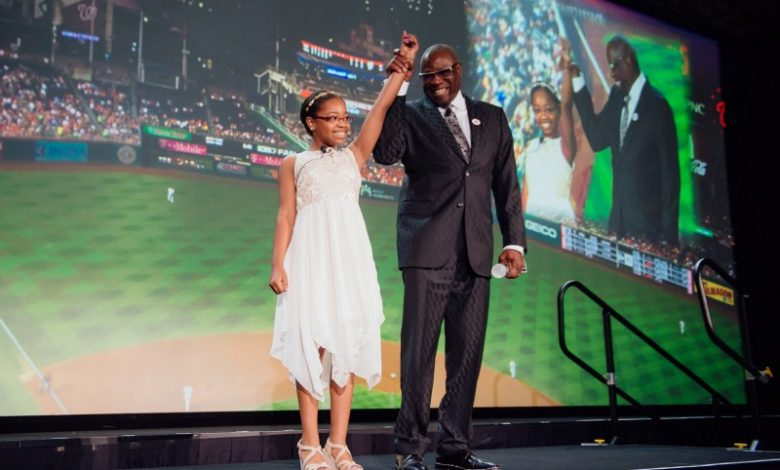 Dusty Baker, Washington Nationals manager and Honorary Dream Gala chair, and student-athlete Jayla Hines (Courtesy of Washington Nationals Dream Foundation)