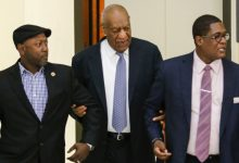 Actor Bill Cosby (center), accompanied by comedian Joe Torry (left) and publicist Andrew Wyatt, arrives at the Montgomery County Courthouse in Norristown, Pennsylvania, for the fourth day of his sexual assault trial on June 8, 2017. (Pool photo)