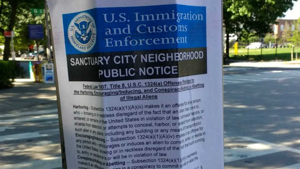 Photo of Fake ICE Posters Used in D.C. to Intimidate Immigrants