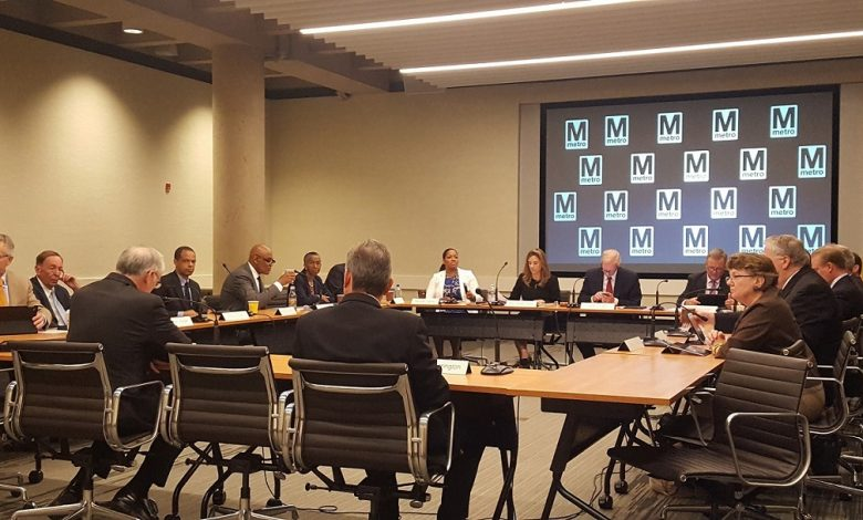 Metro's board of directors holds its weekly meeting at the transit agency's headquarters in northwest D.C. on July 27, along with two new members appointed by the Trump administration. (William J. Ford/The Washington Informer)