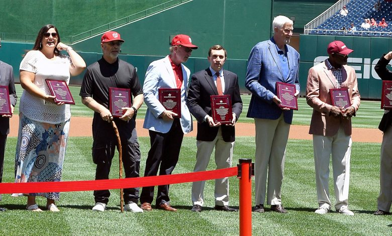 The Washington DC Sports Hall of Fame's 2017 class is honored prior to the Washington Nationals-Atlanta Braves game at Nationals Park in Southeast on July 9. (John E. De Freitas/The Washington Informer)