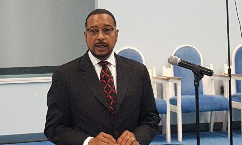 State Sen. C. Anthony Muse leads a discussion Aug. 14 at Jericho City of Praise in Landover on ways to improve Prince George's County Public Schools. (William J. Ford/The Washington Informer)