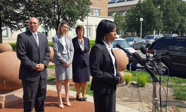 Prince George's County State's Attorney Angela Alsobrooks speaks to reporters outside the county courthouse on Aug. 21 after a judge canceled a hearing for Antonio Williams, who is charged with murdering three children, including his 6-year-old sister. (William J. Ford/The Washington Informer)
