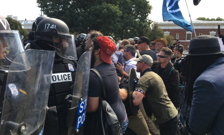 White supremacists clash with police in Charlottesville, Virginia, on Aug. 12, 2017. (Evan Nesterak via Wikimedia Commons)