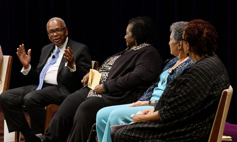 Surviving members of the Little Rock Nine, who integrated an all-white Central High School in Little Rock, Ark., 60 years ago, reflect on their courageous act at the National Museum of African American History and Culture on Sept. 26. (Roy Lewis/The Washington Informer)