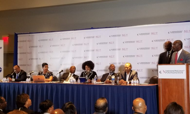 Rep. Gregory Meeks (far right) addresses the state of housing among Blacks during the Congressional Black Caucus Foundation's 47th Annual Legislative Conference in northwest D.C. on Sept. 21. (William J. Ford/The Washington Informer)