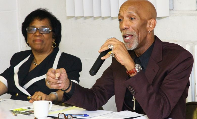 Washington Informer Editor D. Kevin McNeir, Dr. Stephanie Myers, Jackie Rhone and Ransom Miller participate in a community panel held by the 100 Fathers Inc. of Washington, DC on Sept. 18 at Church of Our Savior in Northeast. (Eric Watson/The Washington Informer)