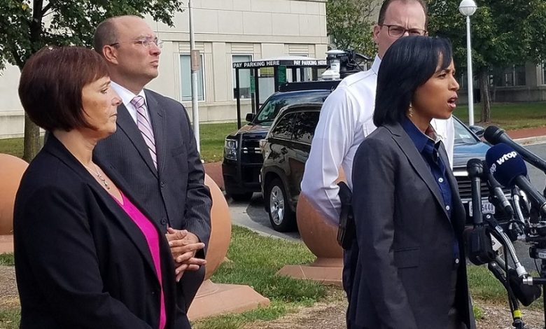 Prince George's County State's Attorney Angela Alsobrooks discusses the plea deals for two men in the 2016 shooting death of a county police officer during an Oct. 10 press conference outside the county courthouse in Upper Marlboro. (William J. Ford/The Washington Informer)