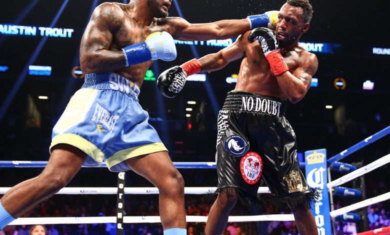 IBF junior middleweight champion Jarrett Hurd scored a 10th-round TKO over Austin Trout at the Barclays Center in New York on Oct. 14. (Courtesy of Showtime Boxing via Twitter)