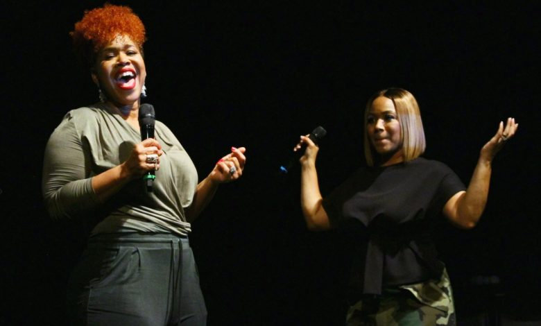 Famed gospel duo and sisters Mary Mary attend the premiere of the final season of their WE tv reality show at the Howard Theatre in Northwest on Sept. 27. (Eric Watson/The Washington Informer)