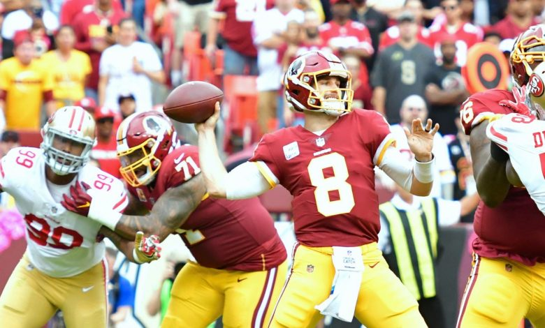 Kirk Cousins (8) led the Washington Redskins to a 26-24 win over the San Francisco 49ers at FedEx Field in Landover, Maryland, on Oct. 15. (John De Freitas/The Washington Informer)