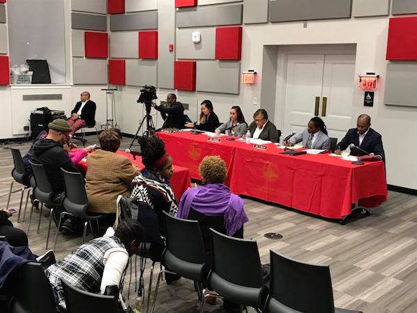 D.C. Council members Anita Bonds (At-Large) and Trayon White (Ward 8 ) host a roundtable on affordable housing at the R.I.S.E. Demonstration Center in Southeast on Nov. 7. (Courtesy of Anita Bonds via Facebook)