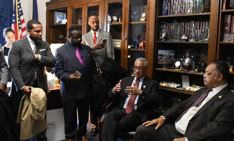 The Rev. Jesse Jackson Sr. (right), Congressman Bobby Scott (D-Va) (second from right) and members of the Rainbow PUSH Coalition meet in D.C. with a mission of charting a new future for African-American youth. (Roy Lewis/The Washington Informer)