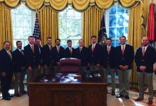 Photo of Mostly White NCAA Champions Visit Trump, White House