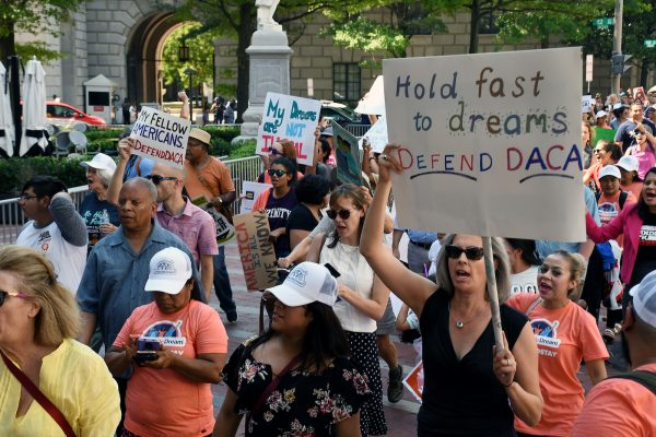 Demonstrators protest against President Donald Trump's decision to rescind DACA at White House on Sept 5. (Roy Lewis/The Washington Informer)