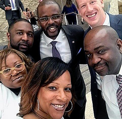 D.C. Schools Chancellor Antwan Wilson (center) recently congratulated DCPS administrators during Principal Appreciation Month. (Courtesy of DCPS)