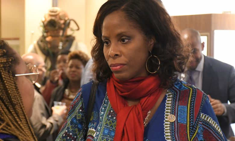 """Virgin Islands Rep. Stacey Plaskett joined several dozen attendants for the documentary premiere of """"Dear Everybody."""" (Roy Lewis/The Washington Informer)"""