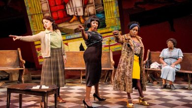 """From left: Toni L. Martin (Sephronia), Harriett D. Foy (Nina Simone), Felicia Curry (Sweet Thing) and Theresa Cunningham (Sarah) in""""Nina Simone: Four Women,"""" running through Dec. 24 at Arena Stage at the Mead Center for American Theater. (C. Stanley Photography)"""