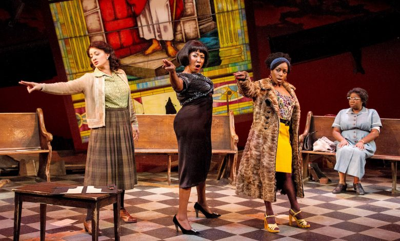 "From left: Toni L. Martin (Sephronia), Harriett D. Foy (Nina Simone), Felicia Curry (Sweet Thing) and Theresa Cunningham (Sarah) in ""Nina Simone: Four Women,"" running through Dec. 24 at Arena Stage at the Mead Center for American Theater. (C. Stanley Photography)"