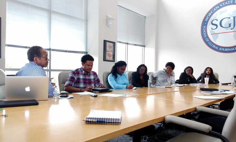 """Tim Reid facilitates the production discussion for the documentary """"Murder and the Butterfly Effect,"""" a class project that will be screened at Morgan State University in December. (Brenda C. Siler/The Washington Informer)"""