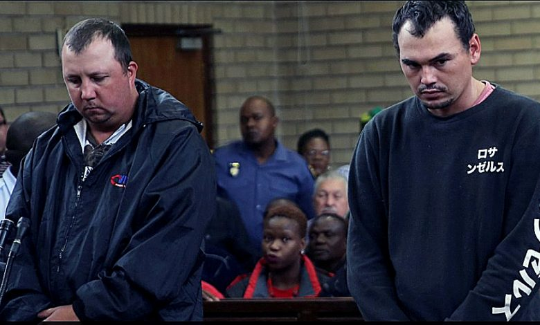 Theo Jackson (left) was sentenced to 19 years in prison and Willem Oosthuizen was sentenced to 16 years, both with five years suspended, for forcing a Black man into a coffin. (Courtesy of dailymail.co.uk)
