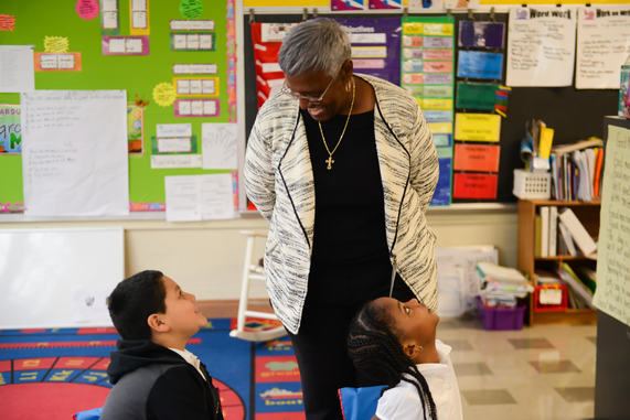 "Prince George's County Board of Education Vice Chair Carolyn Boston visits Capitol Heights Elementary School as part of the schools system's ""Principal for a Day"" event on Nov. 14. (Courtesy of PGCPS)"