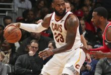 Cleveland Cavaliers forward LeBron James posts up Washington Wizards guard John Wall during the Cavaliers' 106-99 win at Capital One Arena in D.C. on Dec. 17. (Courtesy of the Cavaliers via Twitter)